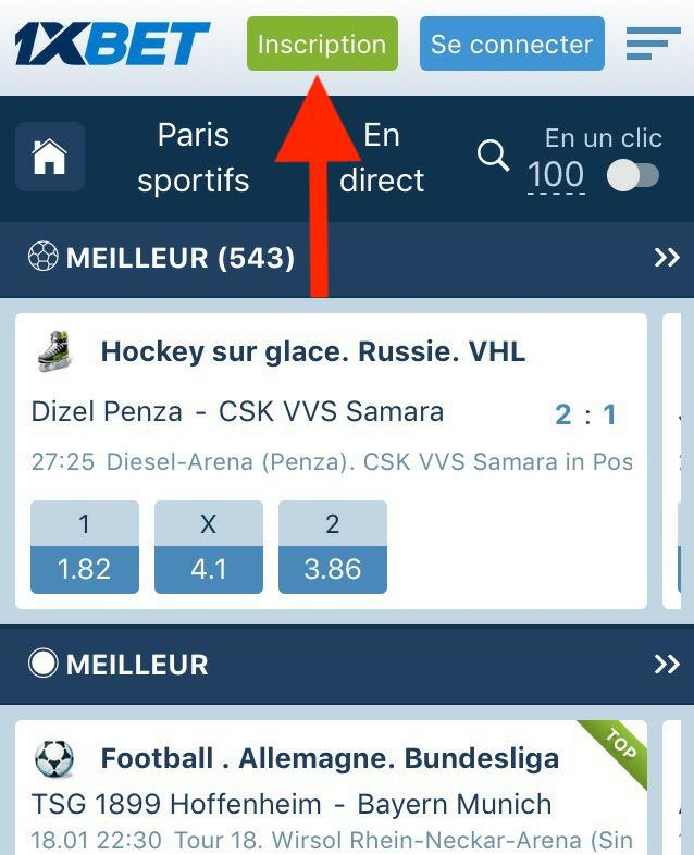 Page d'accueil 1xbet